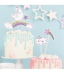 PartyDeco Topper para Tartas Unicornio Set/5
