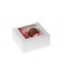Caja 4 cupcakes + interior Blanca con ventana