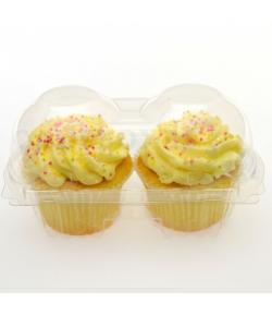 Caja de plástico para 2 cupcake