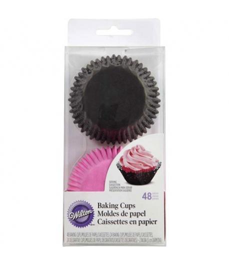 Wilton Kit Capsulas Hornear Cupcakes Blonda Rosa, 48 pz.