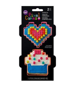 Wilton Cortador, Corazón y Cupcake Pixel 2u.