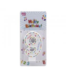 Pastkolor Vela Happy Birthday Numero 9