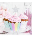 PartyDeco Toppers Estrellas para Cupcakes - Plata Set/6