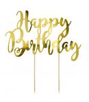 PartyDeco Topper para Tartas Happy Birthday - Oro