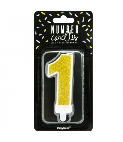 PartyDeco Vela Cumpleaños Número 1 - Oro