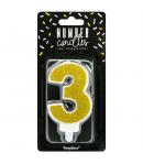 PartyDeco Vela Cumpleaños Número 3 - Oro