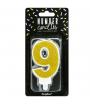 PartyDeco Vela Cumpleaños Número 9 - Oro