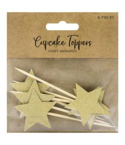 PartyDeco Toppers Estrellas para Cupcakes - Oro Set/6