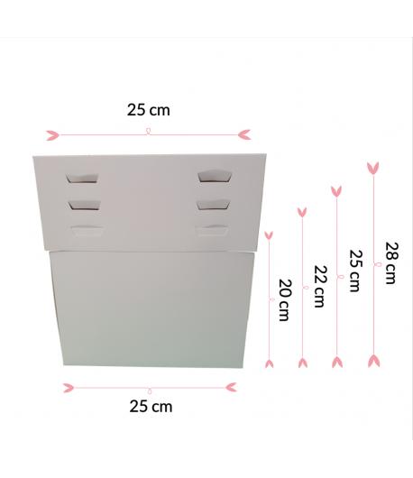 """Caja Para Tarta 4 Alturas 25 X 25 X 20/22/25/28 (10"""")"""