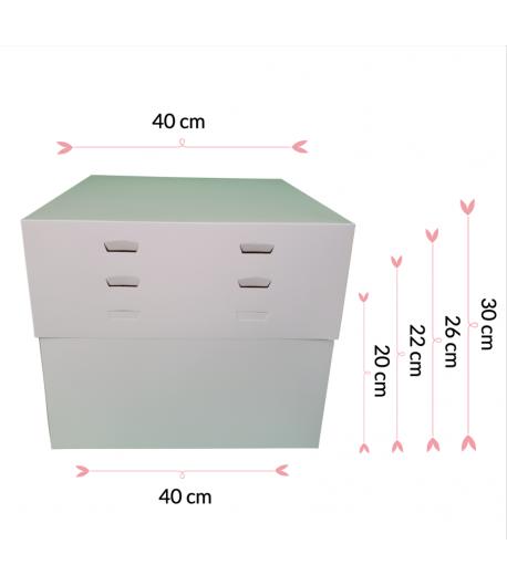 """Caja Para Tarta 4 Alturas 40 X 40 X 20/22/25/28 (10"""")"""