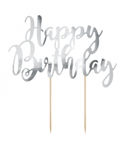 PartyDeco Topper para Tartas Happy Birthday - Plata