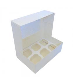 Caja Para 6 Cupcakes Blanca Con Ventana